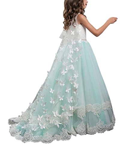 Banfvting Long Cape Detachable Train Girls Prom Dress Party Gown With Handmade Flowers by Banfvting (Image #4)