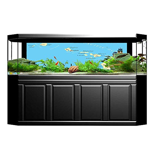 (JiahongPan Background Fish Tank Decorations Map of Hawaiis with Capital Honolulu Borders PVC Paper Cling Decals Sticker L29.5 x)