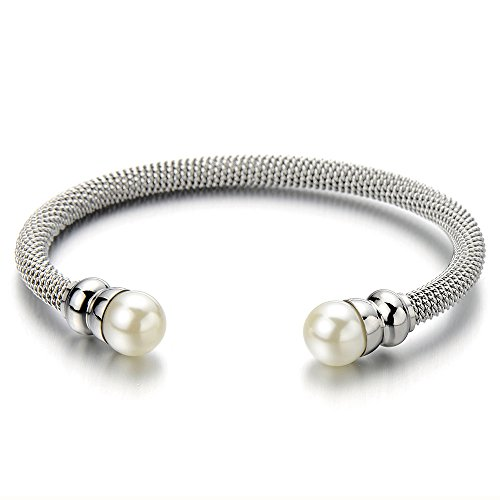 COOLSTEELANDBEYOND Classic Ladies Stainless Steel Twisted Cable Bangle Bracelet with Synthetic White (Silver Tone Pearl Twisted Bracelet)