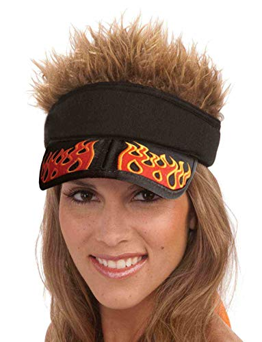 (3 in 1 Hair Hat Fire Flame Sun Visor Wig Spikes Surfer)