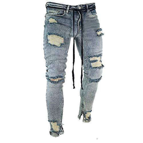 Hip Elasticizzata Da Classiche Ragazzi Fori Streetwear Strappati Grau Con Uomo Hop Jeans Pantaloni Chiusura yEaPTgHH