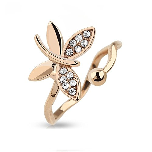 Adjustable Toe/Mid Ring Rose Gold Butterfly Multi Gem (Rose Gold CZ)