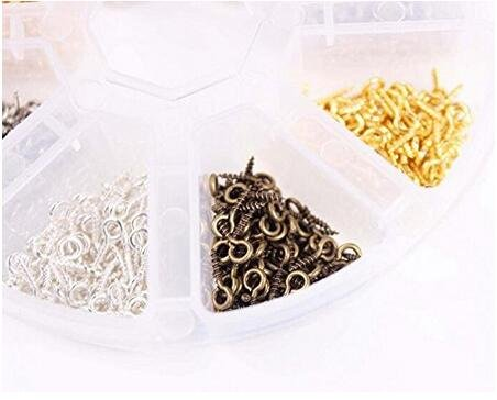 1 Box 800 Pieces Iron Screw Eye Pin Findings Bail Peg for Arts /& Crafts Projects//Bead//Jewelry//Cork Top Bottles Bails Creative Designs Top Drilled Beads Connectors Clay Jewelry Assortments 10x4mm