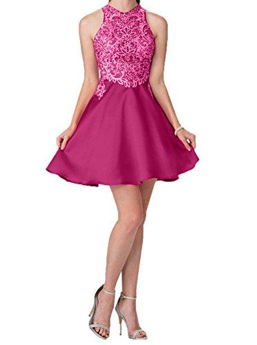 Pink Cocktailkleider Mini Charmant Linie A Damen Kurz Promkleider mit Spitze Abendkleider Abschlussballkleider Steine 87wS8qrE