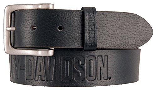 (Harley-Davidson Men's Embossed Ride The Line Leather Belt HDMBT11331-BLK (36))