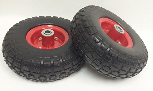2 New 10″ Flat Free Solid Tire Wheel for Dolly Handtruck Cart -27019