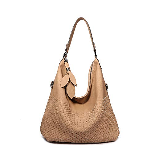 (Women's Hobo Bag, Classical Braided Leather Purses Handbags Crossbody Shoulder Tote Bag (Light Camel))