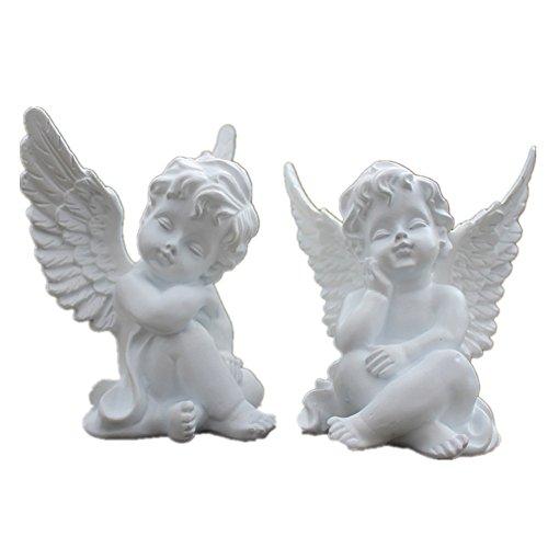 xiangshang shangmao 80x60x100mm Home Decor Vintage Angel Cherub Figurine Figure White Sleeping Baby Angel Statue