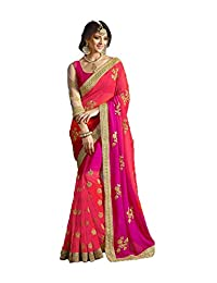FourCorners2013 Indian Women Designer Party wear Purple Androse Pink Color Saree