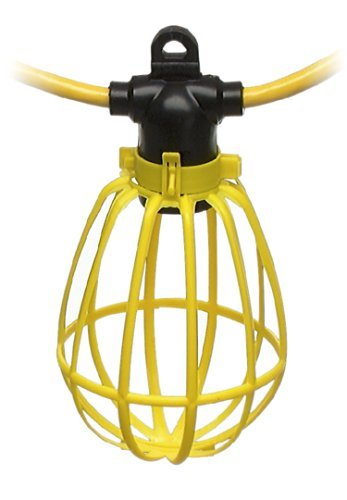 100-Foot Outdoor Yellow Commercial Contractor-Grade 10 Socket Plastic Cage String Lights (Construction String Lights)