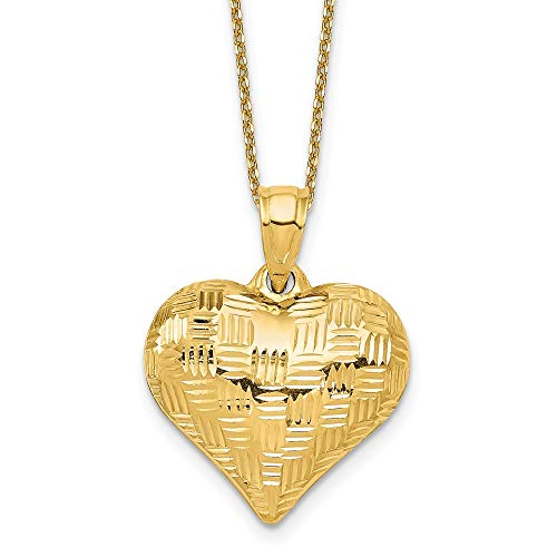 14K Yellow Gold Textured Puff Heart Necklace ()