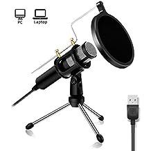 Profesional Micrófono de condensador–Nasum USB Plug & Play Home Studio–Micrófonos, filtro, acústica de doble capa para YouTube, Facebook, Podcasting, juegos (Windows/Mac)