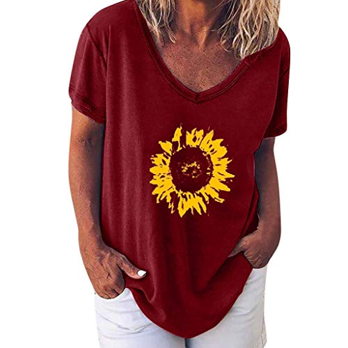 DAYPLAY Womens Tops Plus Size Summer 2019 Short Sleeve Sunflower Tee Shirts Loose V Neck Ladies T Shirt Blouses for Girl Wine (Best Pheasant Gun 2019)