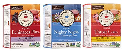 Traditional Medicinal Organic Tea Bags Sampler Assortment Variety Pack Gift Box - (Pack of 48 | Tea Bags) Nighty Night | Throat Coat | Echinacea Plus