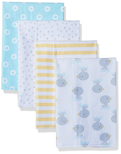 Gerber Flannel Burp Cloths (Gerber Baby 4 Pack Flannel Burp Cloth, New Duck, One Size)