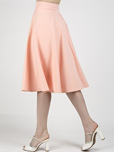 757bdb2de CHOiES record your inspired fashion Women's Pink/BlackBlue/White Solid High  Waist Trumpet Midi Skirt (10 ...
