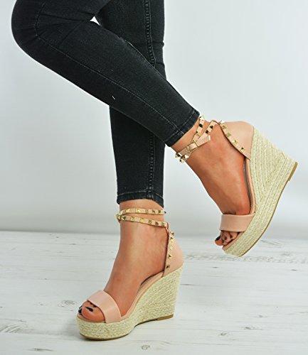 Cucu Fashion Brand New Womens Espadrille Sandals Ladies Girls Rock Studs Peep Toe High Wedge Heels Platform Ankle Strap Casual Party Summer Shoes Size Uk 3-8 Pink PU bXp7gaTdTd