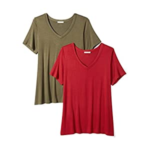 Daily Ritual Women's Plus Size Jersey Short-Sleeve V-Neck T-Shirt, 2-Pack, 2X, Deep Red/Forest Green