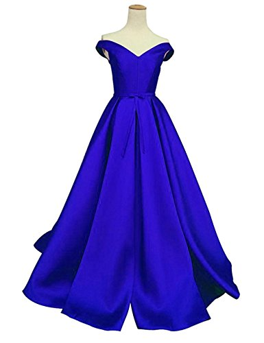 Duraplast Women's Off-The-Shoulder Dress Long Prom Gown With Bow US2 Royal Blue