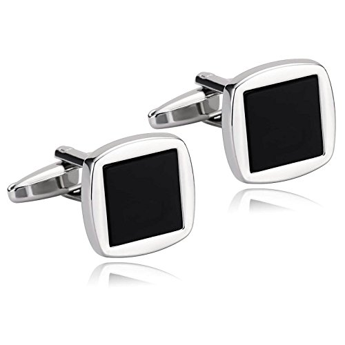 AMDXD Cufflinks for Men Vintage Silver Black Two Tone Square Shirt Cufflinks Cuff Links Mens Stainless 1.6x1.6CM