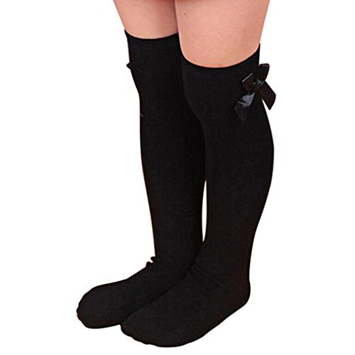 Elevin(TM)Kid Girls Sweet Princess Bowknot Striped Boot Socks Winter Knee High Warm Socks (Black)