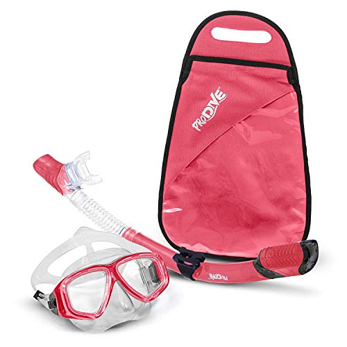 PRODIVE Premium Dry Top Snorkel Set - Impact Resistant Tempered Glass Diving Mask, Watertight and Anti-Fog Lens for Best Vision, Easy Adjustable Strap, Waterproof Gear Bag Included (Rose)