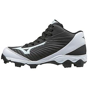 Mizuno (MIZD9) Boys' 9-Spike Advanced Franchise 9 Molded Cleat-Mid Baseball Shoe, Black/White, 6 Youth US Big Kid