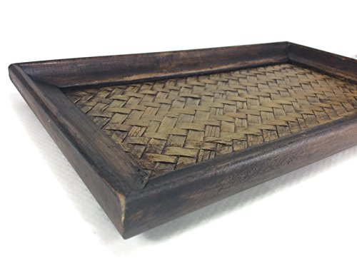 (Tray Serving Handmade Bamboo Oriental Wood Vintage Restaurant Wooden Handcraft 6 x 10 Inches)