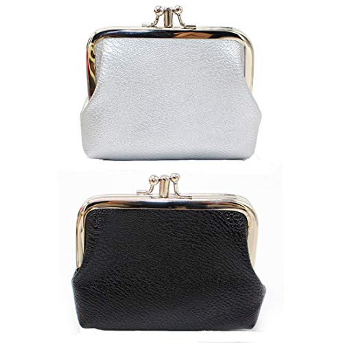 Oyachic 2 Packs PU Coin Purse Double Pocket Change Pouch Clutch Wallet with Clasp Closure for Girls and Women (black+white) ()
