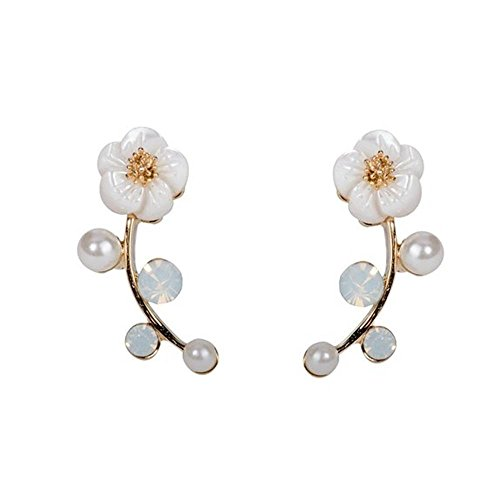 Fashion Woman Gold Dangle Shell Pearl Flower Ear Vine Wrap Pin Sweep up Ear Cuffs Climber Clip Earrings