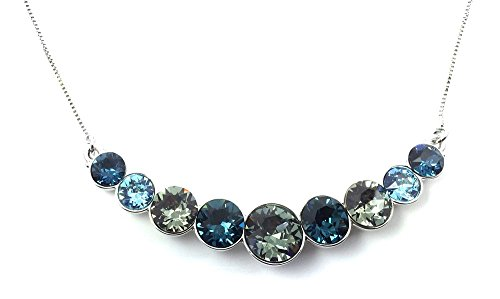 (UPSERA Fashion Necklace for Women Made with Swarovski Crystals Blue Black Colored Stones Pendant Silver Tone Chain Costume Jewelry)