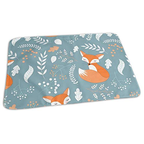 - Fox - Sleepy Foxes (Blue Pond) Baby Nursery Woodland Animals Kids Childrens Bedding Baby Toddler Waterproof Washable Diaper Portable Reusable Changing Pad Mat 27.5