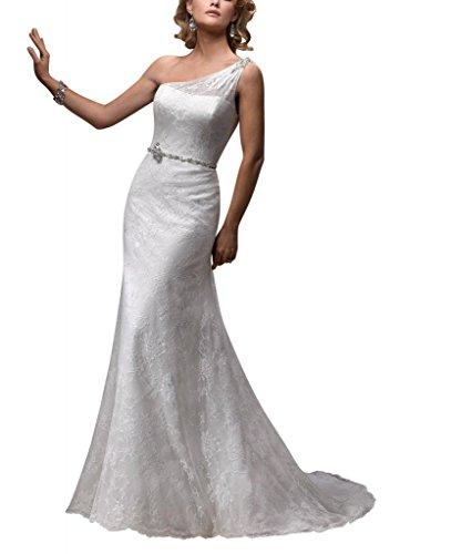 Gericht Schulter Weiß BRIDE Brautkleider Hochzeitskleider GEORGE ueber Spitze ein Satin Zug wqYwR4Ex