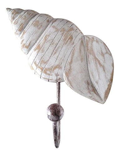 MTI Tropical Ocean Beach Turban Seashell Wood Single Wall Hook