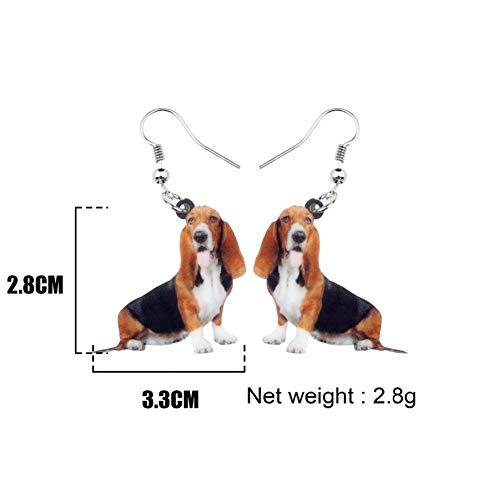 (IUTING Acrylic Anime Basset Hound Dog Earrings Pendant Fashion Animal Jewelry Girl Gifts)