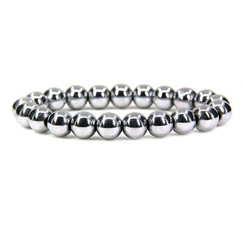 Amandastone Natural White Hematite Genuine Semi Precious Gemstones Healing 10mm Beaded Stretch Bracelet 7