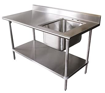 Amazoncom Prep Work Table With Sink X X W - Stainless steel work table with sink