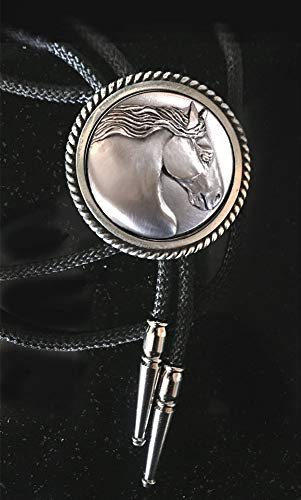 Gypsy Horse men's Bolo tie with sculptural horse head handmade in mirror polished pewter with silver tips, black or silver ()