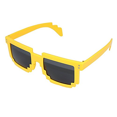 [8 Bit Pixel Kids Sunglasses Yellow - Novelty Retro Gamer Geek Glasses for Boys and Girls Ages 4+ by] (Dragon Costume Skin Minecraft)