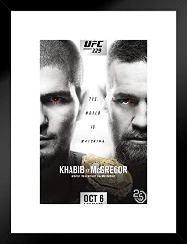 Pyramid America Official UFC 229 Khabib vs Conor McGregor Sports Matted Framed Wall Art Print 20x26 inch ()