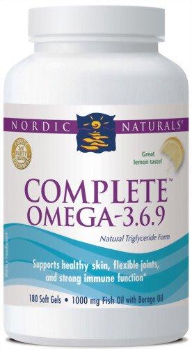 Nordic Naturals Omega 3.6.9 complètes, saveur de citron, 180 Gels mous