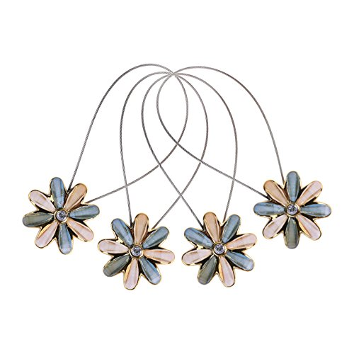 - CM Cosmos 2 Pairs Magnetic Flower Curtain Clips Tiebacks Holdbacks (Light Blue)