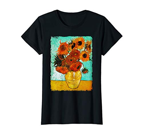 Womens Van Gogh Sunflowers T Shirt Vintage Floral Painting Tee Gif (Paintings Floral Artists)