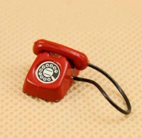 (Brosco Vintage Red Telephone Cute Dollhouse Miniature 1:12 Scale Doll Mini Life Scene ☆)