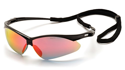 Pyramex Safety PMXTREME Eyewear, Black Frame with Cord, Ice Orange (Orange Lens Safety Glasses)