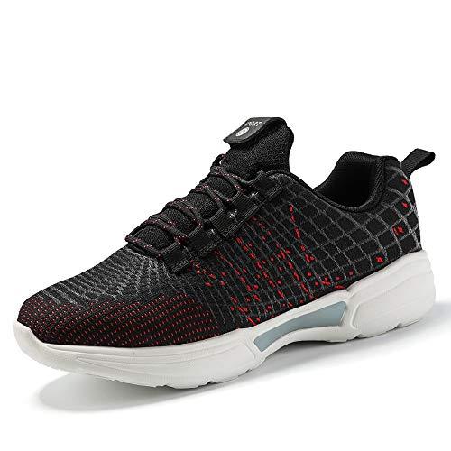 Idea Frames Fiber Optic LED Light Up Shoes for Women Men USB Charging Fashion Sneaker Black/Red