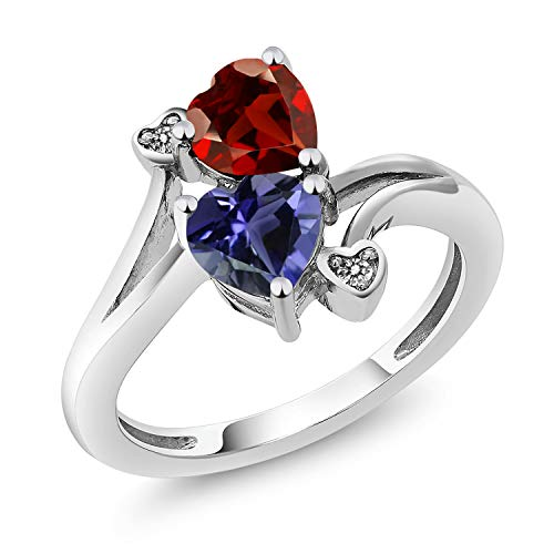 Gem Stone King 1.51 Ct Heart Shape Red Garnet Blue Iolite 925 Sterling Silver Ring (Size 7) ()