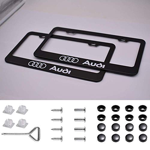 Auto sport 2pcs License Plate Frames with Screw Caps Set Stainless Steel Frame Applicable to US Standard Cars License Plate Fit Ford Accessory