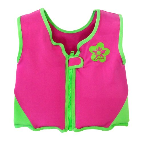 Girls Pink/green Swim Vest Learn-to-swim Jacket Size Large Kids Age 6-7.5 Years Old