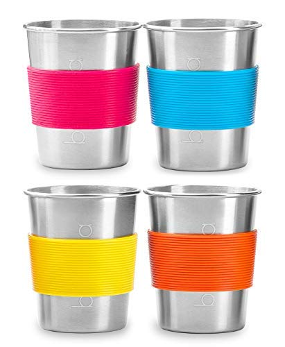 Stainless Steel Cups for Kids and Toddlers, Stainless Steel Sippy Cup for Home, Camping and Travel, Metal Drinking Glasses 4 Pack - 8 oz. Kids Tumblers Eco-Friendly BPA-Free, Smoothie Milk Tin Cups